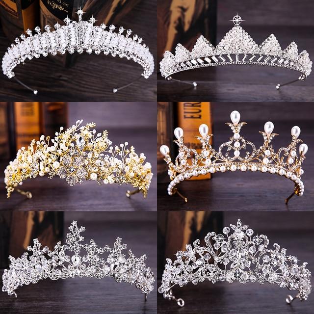 Fashion New Silver Gold Hair Accessories Queen Princess Bridal Tiaras Crown Pearl Rhinestone Wedding Women Hair Jewelry