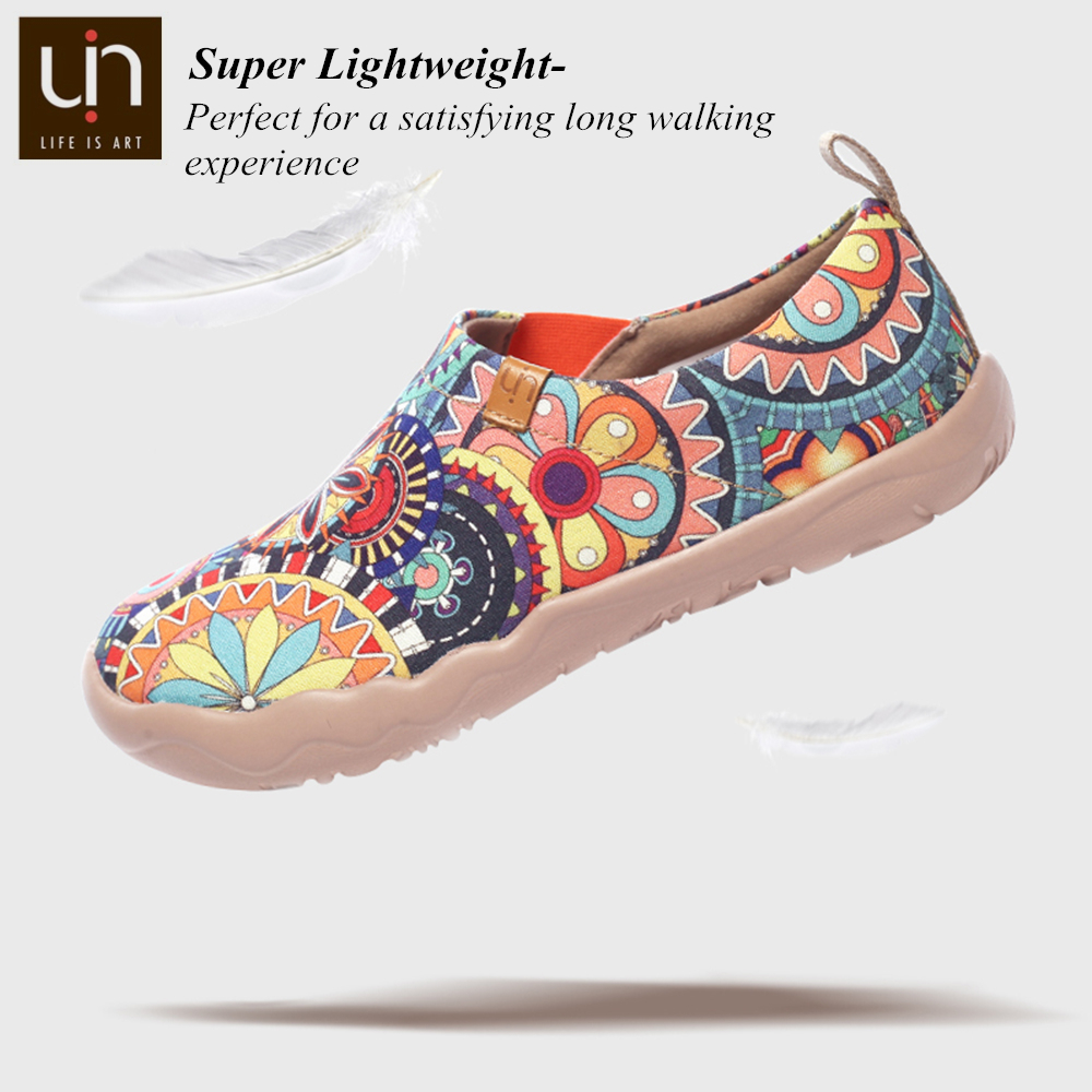 UIN Blossom Design Colorful Art Painted Canvas Loafers for Women Wide Feet Comfort Shoes Ladies Outdoor Soft Sneaker Lightweight 2