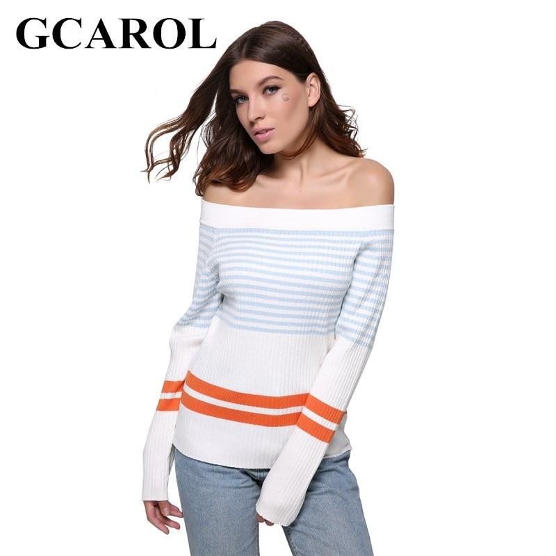 GCAROL Euro Style Stripe Women Sweater Slash Neck Sexy Autumn Winter Knitting Tops Stretch Warm Knitted