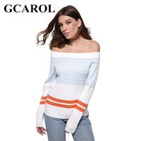 GCAROL Euro Style Stripe Women Sweater Slash Neck Sexy Autumn Winter Knitting Tops Stretch Warm Knitted