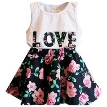 New Baby 2Pcs Love Print Outfit Set Kid Girls Sleeveless Vest Tops +Floral Skirt Summer Clothes Suit 2-6Y