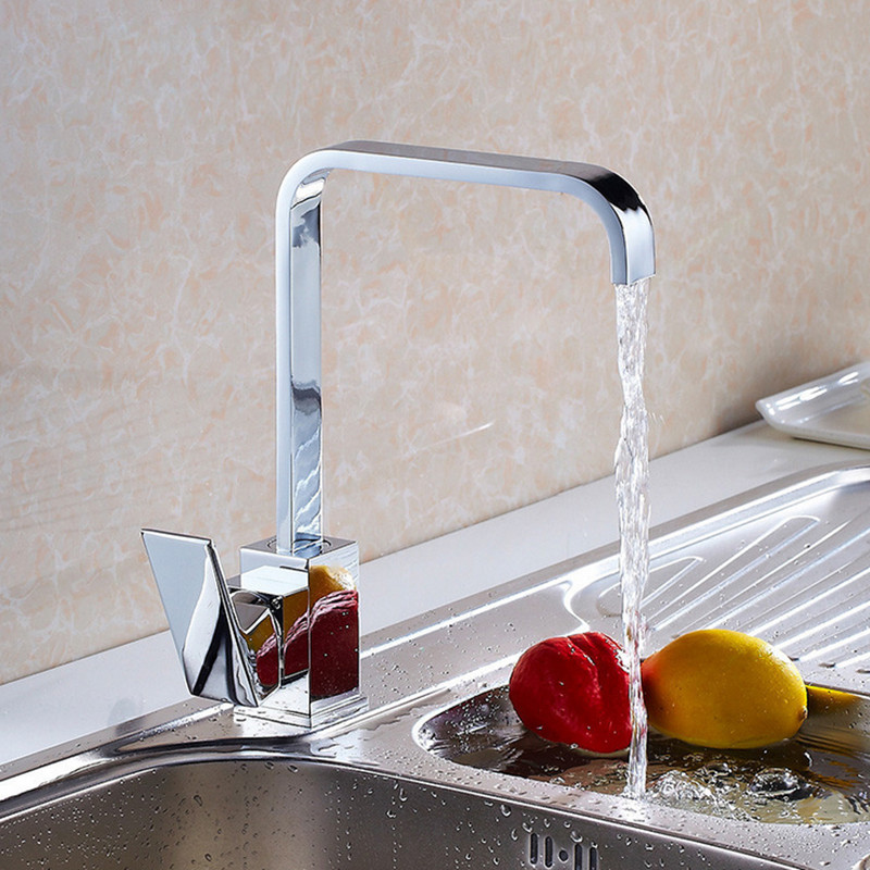 Free shipping Luxury Square solid brass kitchen sink faucet with single handle polished chrome kitchen sink water faucetFree shipping Luxury Square solid brass kitchen sink faucet with single handle polished chrome kitchen sink water faucet