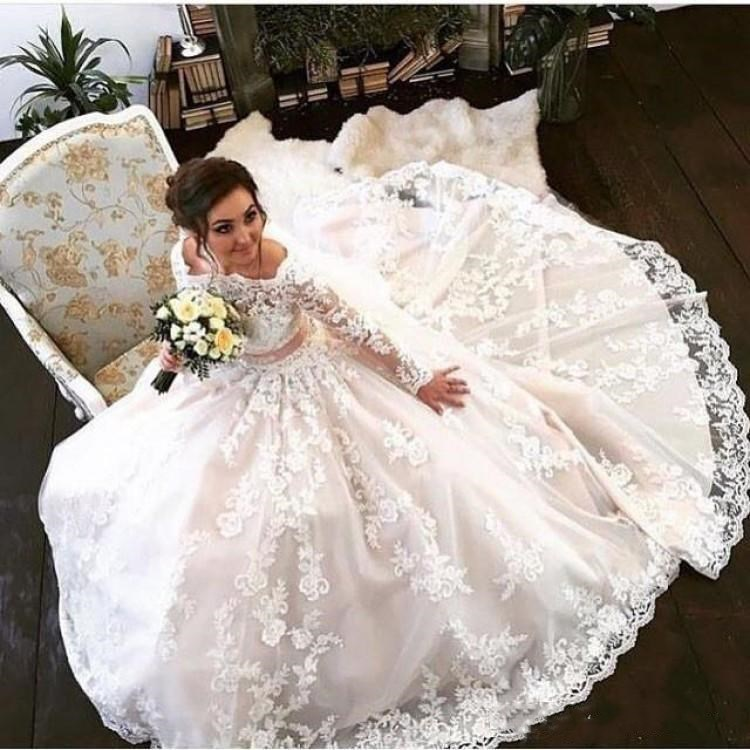 Robe De Mariage Lace Wedding Dresses Long Sleeves Floor Length A Line Bridal Dresses Tulle Off