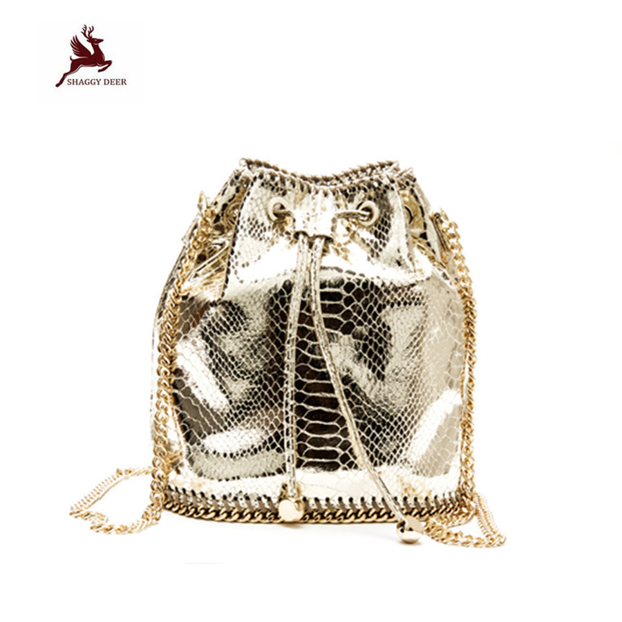 Luxury Shaggy Deer PVC Golden/Sliver Serpentine Small Bucket Lovely Cute falabellas Chain Shoulder Bag Crossbody Limited bag metal deer detail crossbody bag