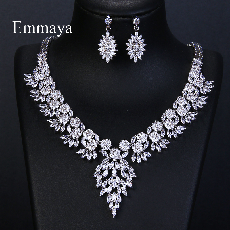 Emmaya Brand Sparkling Cubic Zirconia Crystal Zircon Flower Necklace and Earring Wedding Bridal Jewelry Sets Gift