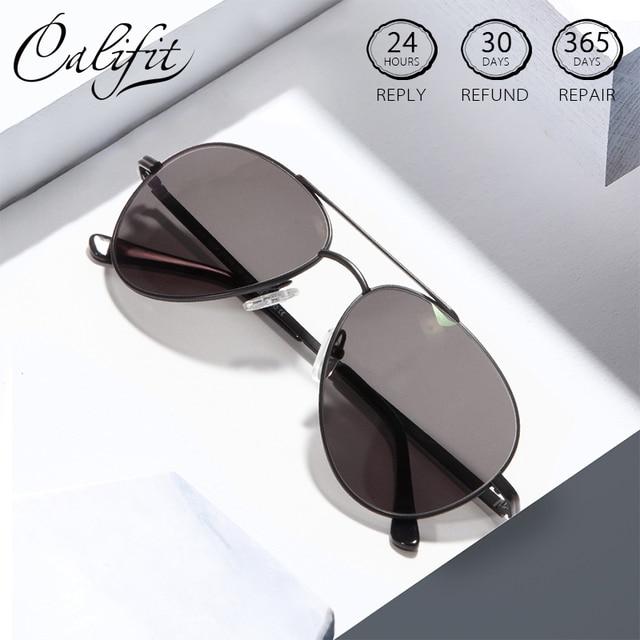 CALIFIT Pilot Classic Men Optical Prescription Glasses Myopia Vintage Oversized Degree Progressive Photochromic Glasses Male