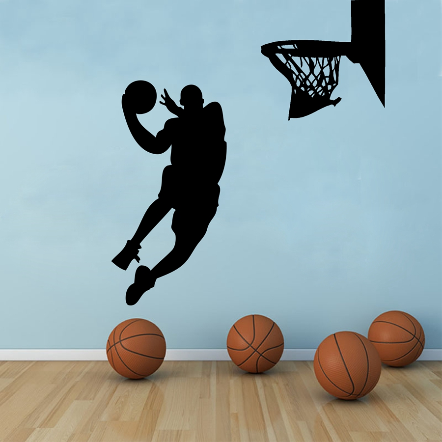 Ordinaire Free Shipping Large Size Basketball Wall Art Decor ,Basketball Player Dunk  Vinyl Wall Decal Stickers ,s2058 In Wall Stickers From Home U0026 Garden On ...
