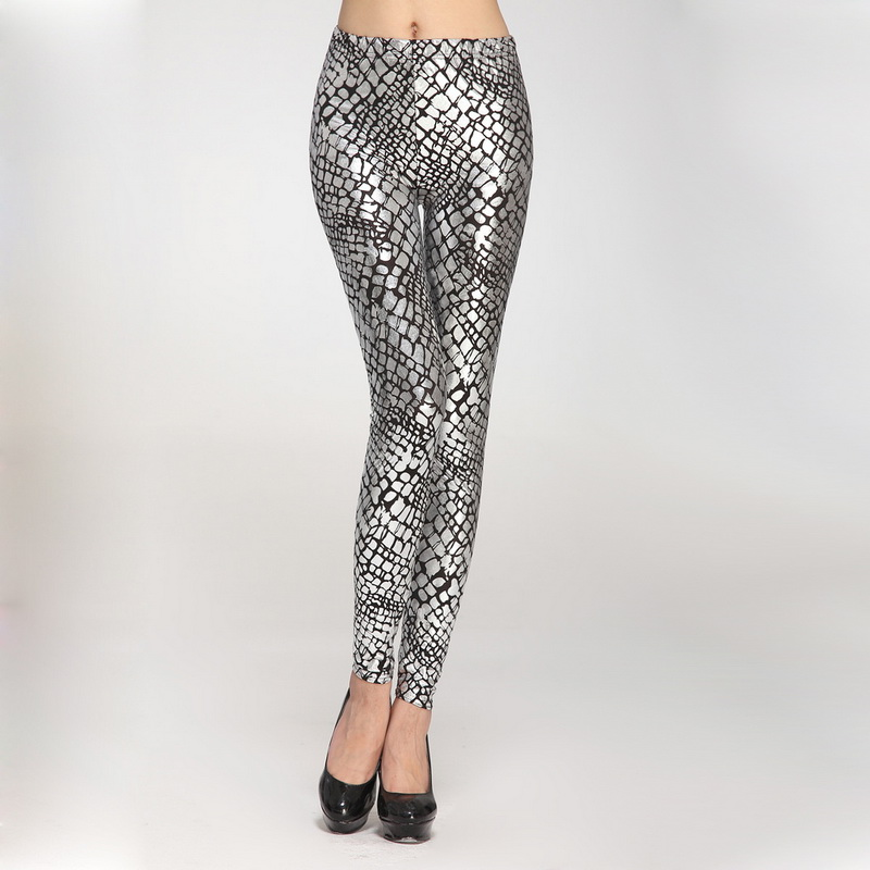 2a3b647bec9 2016 Sexy Gothic Faux Leather Leggings for Women Retro Serpentine Cracked  Leggings Skinny Pants Plus Size Gold Silver Leggins-in Leggings from Women s  ...