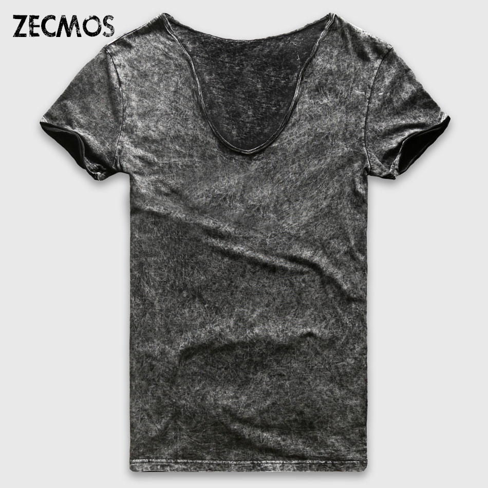 Zecmos Fashion Black T-Shirt Mænd Casual V Neck T-shirts til mænd Vintage Short Sleeve Heavy Washed Cotton Top Tees Mand