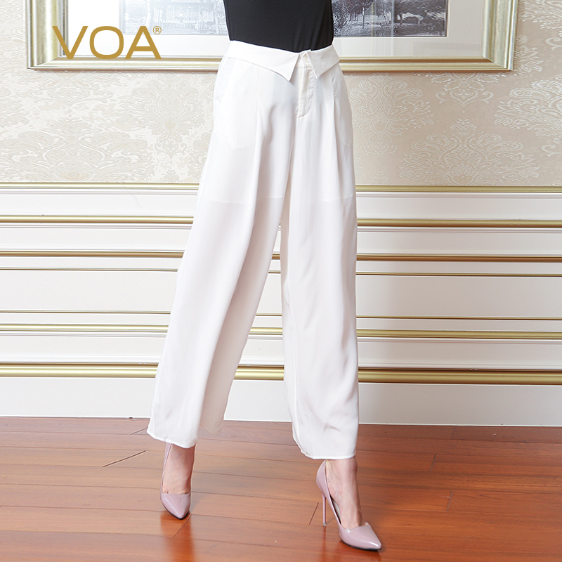 VOA silk white patchword trousers female fashion loose full length   wide     leg     pants   K5695