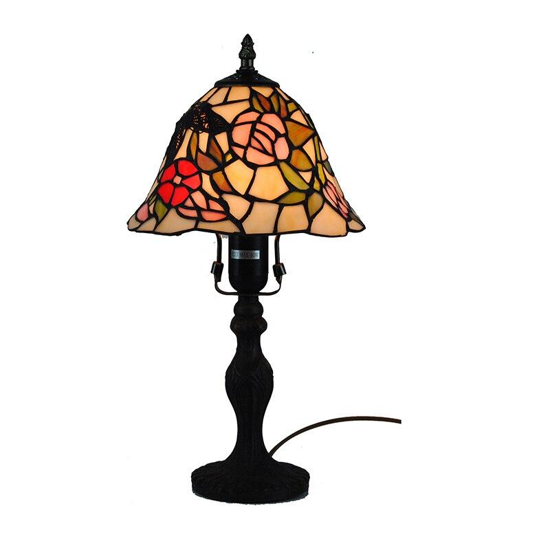 Настольная лампа Тиффани Европейский пятнистости Стекло обеденный стол свет прикроватной барокко бабочка оттенки красочные чтения бюро с...