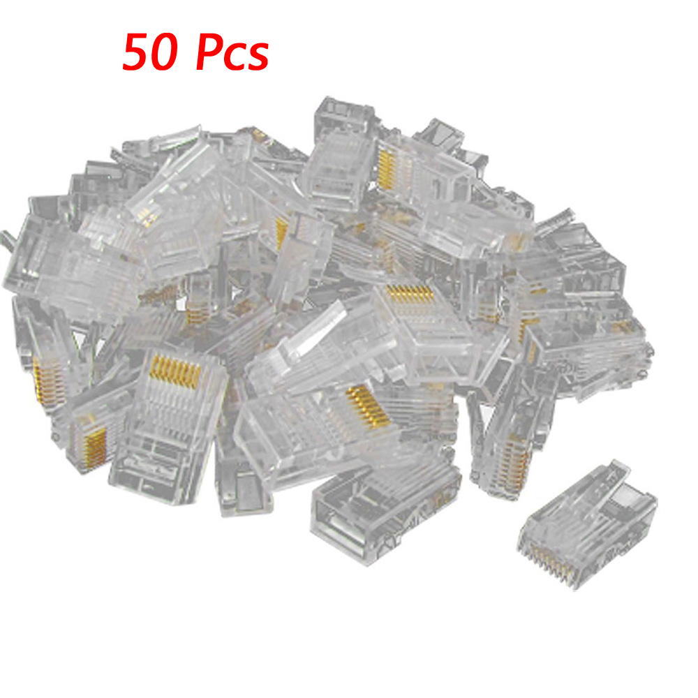 50 PCS RJ45 CAT5 Crystal Network Modular Connector Plug 8P8C New 24 pcs rj45 modular network pcb jack 56 8p w led 4 ports