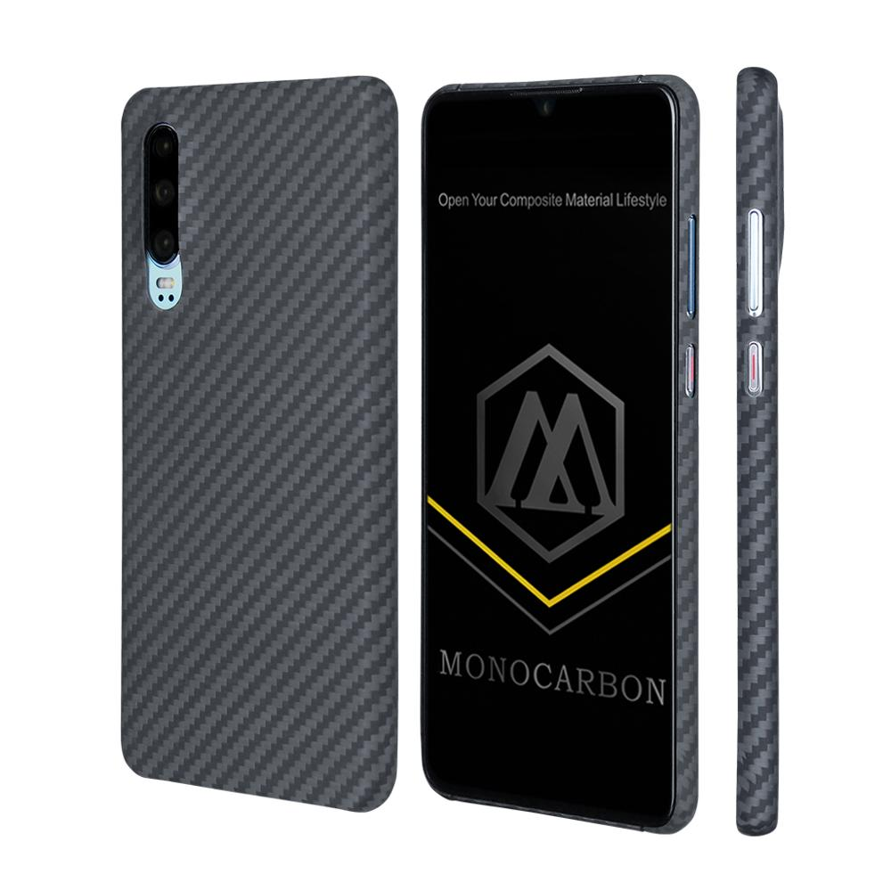 MONOCARBON Aramid Fiber Case for Huawei P30 P30Pro with 4 Sides Protective Slim Carbon Fiber Patterns Cover Bulletproof Material