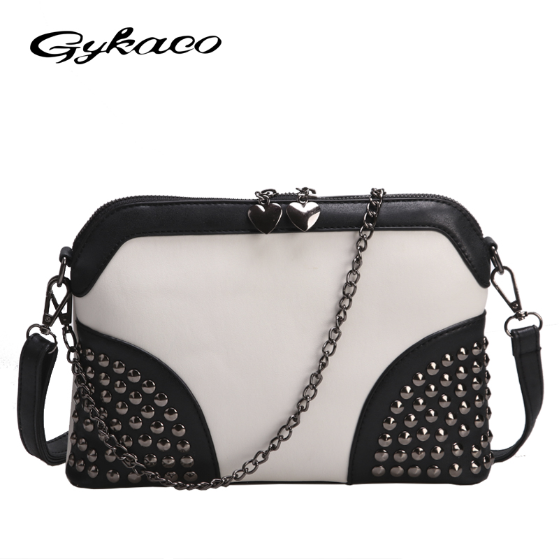2017 Winter Chain Rivet Shell Bag Famous Brand Fashion PU Leather Women Messenger Bags ladies crossbody shoulder bag sac a main 2017 fashion all match retro split leather women bag top grade small shoulder bags multilayer mini chain women messenger bags