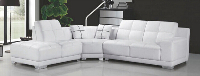 Lizz Wooden Modern Furniture L Shape Leather Sofa White Corner 5seats Double
