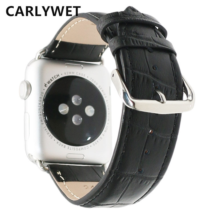 New Pink Black Red White Brown Men Women Real Calf Genuine Leather Wrist Watch Band Belt Strap For Apple Watch Iwatch 38mm 42mm high quality genuine leather watchband 22mm brown black wrist watch band strap wristwatches stitched belt folding clasp men