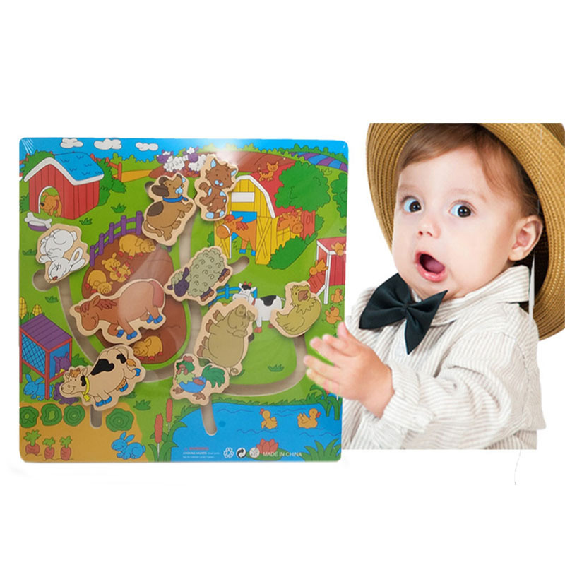 Kid Early Educational Toys Baby Hand Grasp Wooden Toy Puzzle Alphabet Digit Learning Education Child Wood Jigsaw Toy
