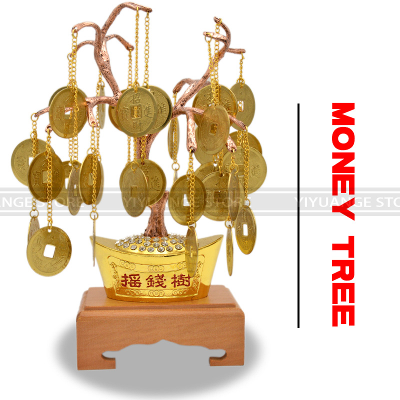 Offre spéciale chinois Fengshui mascotte métal artisanat métal bonne Fortune arbre chanceux avec des pièces Felicitous souhait de faire de l'argent