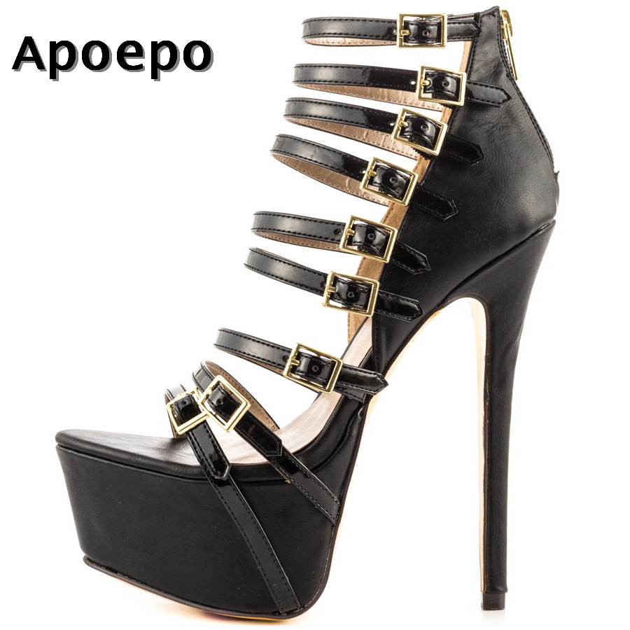 Apoepo Big Size Platform Sandal for Woman Summer Sexy Open Toe high heel shoes Black Pu leather Cutouts sandal gladiator shoes new fashion big pearls beaded woman flat shoes 2017 sexy open toe sandal crystal embellished slides