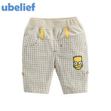 UBELIEF Kids boys Summer Shorts Child Short Trousers Toddler Boy Shorts Baby Kids The Cartoon Simpsons Print Color Plaid Pants
