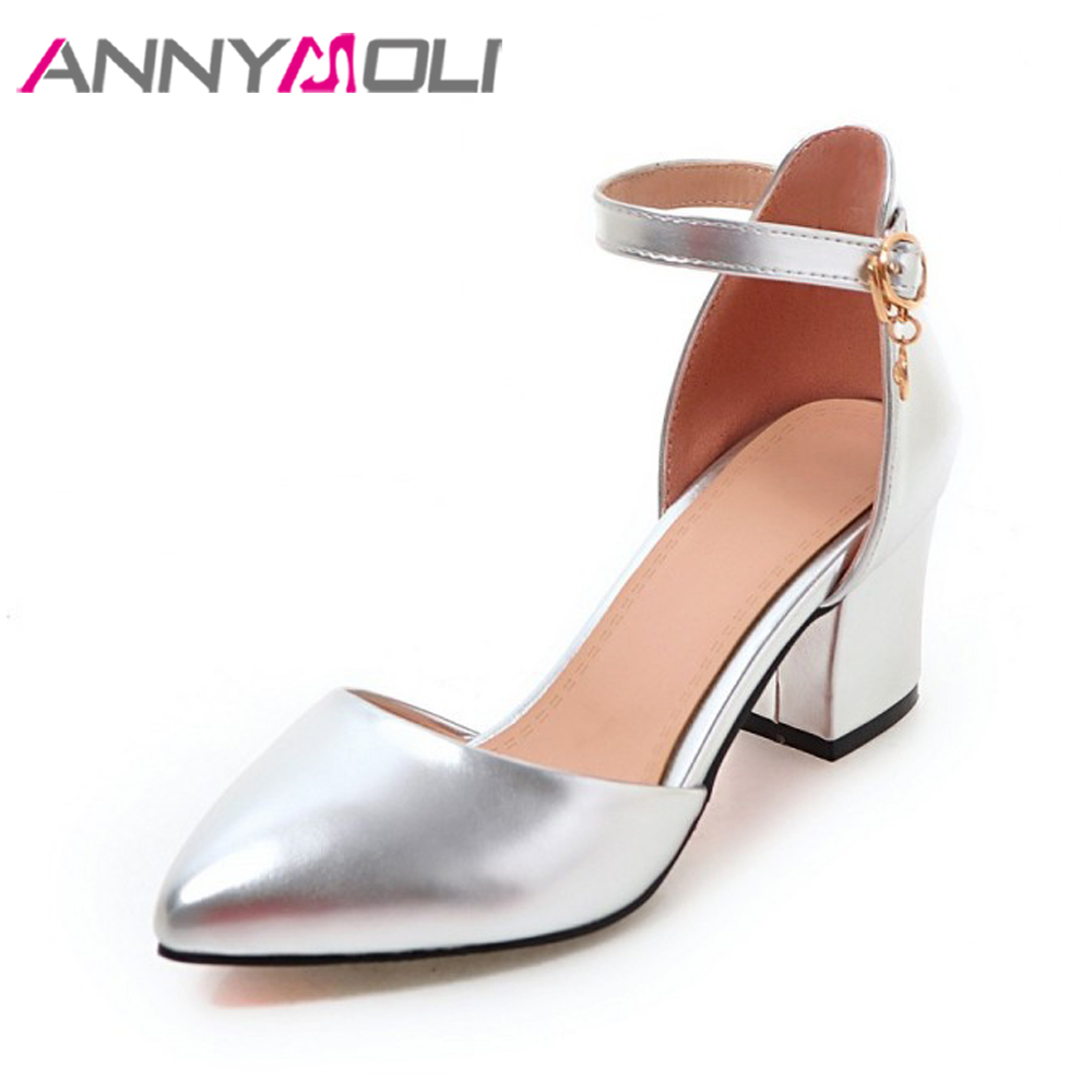 ANNYMOLI Thick High Heels Shoes Pumps Women Spring 2018 Ankle Strap Wedding Shoes Silver Pointed Toe Two Piece Pumps Big Size 43 new spring autumn ankle strap women shoes big size 32 46 fashion pointed toe buckle strap thick heel high heels zapatos mujer