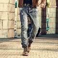 Мужская Ретро рваные джинсы мужские твердые Стиральные джинсы новый Корейский стиль случайные брюки стрейч человек джинсовые pants100 % Хлопок 2016