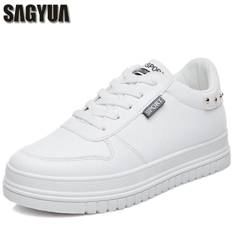 SAGYUA Teenagers Young Students Lady Girlish Lace-Up Round Toe Womens Zapatos Mujer Casual Female Flat Boards Walks Shoes T195