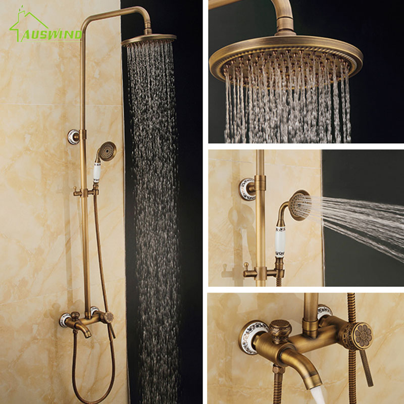 Bathroom Antique Shower Set Faucet Brass Mixer Tap Dual Handles Ceramic And Carved Rainfall 8 Wall