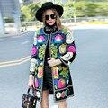 Высокого класса зима тренчи для женщин высокого качества плюс размер vintage Элегантные Цветы шерстяные красочные пальто дамы М-XXXL