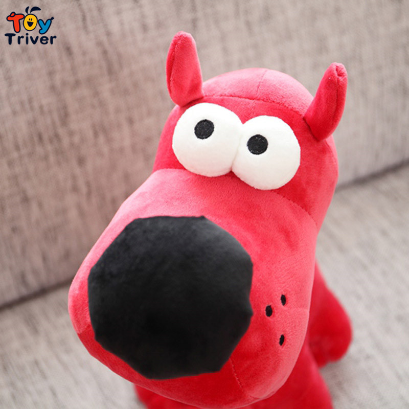 1pc Cute Big Nose White Eyes Red Blue Plush Dog Puppy Toy Stuffed
