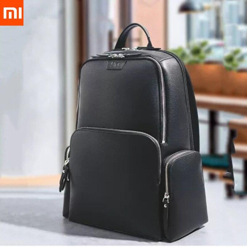 D'origine xiaomi mijia sac à dos en cuir complet en cuir décontracté sauvage hommes et femmes sac à bandoulière large classique de haute qualité