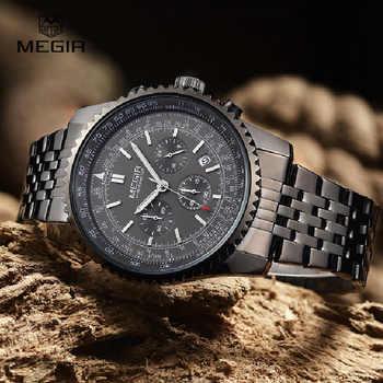 MEGIR Sport Men Watch Men Quartz Wristwatch Stainless Steel Band Male Clock Wrist Waterproof Relogio Masculino Hodinky 2008