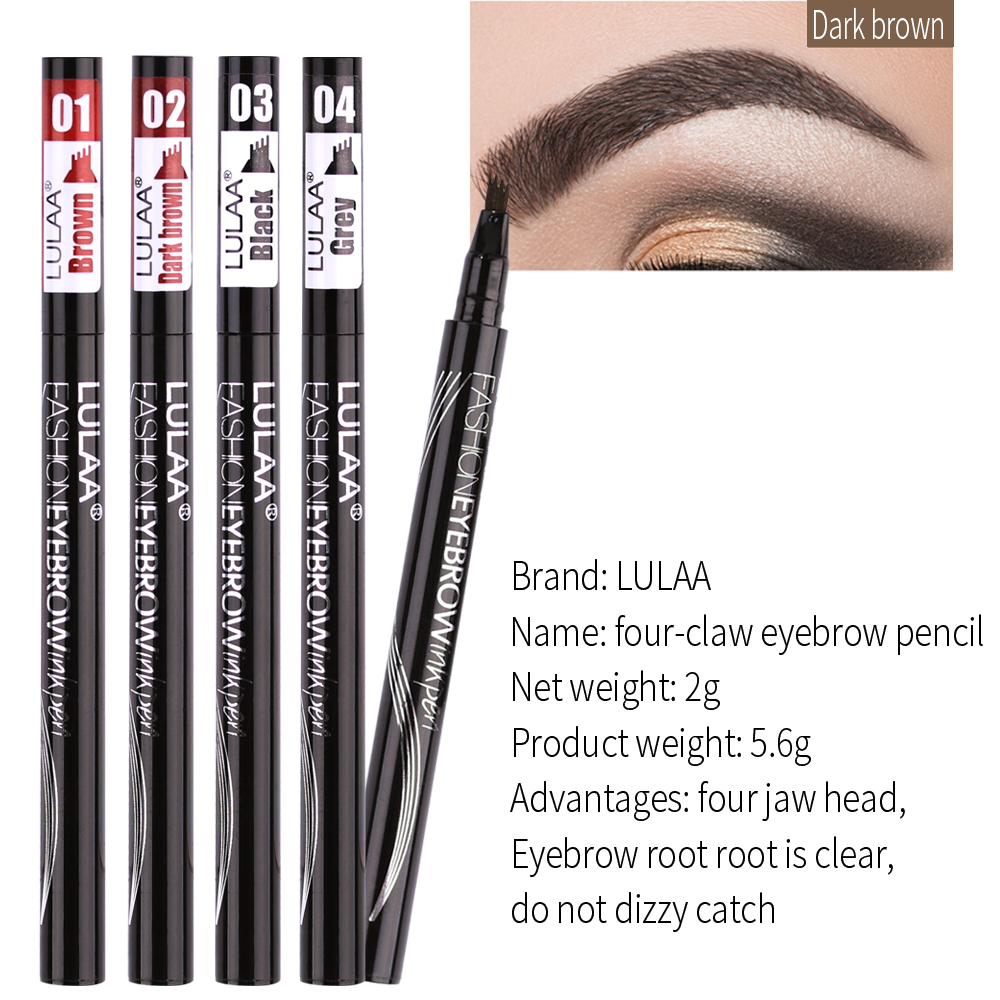 LULAA Four Heads Liquid Eyebrow Pencil Eye Brow Enhancer Waterproof Sweat proof Four claw Eyebrow Tattoo Pen Long lasting Makeup in Eyebrow Enhancers from Beauty Health