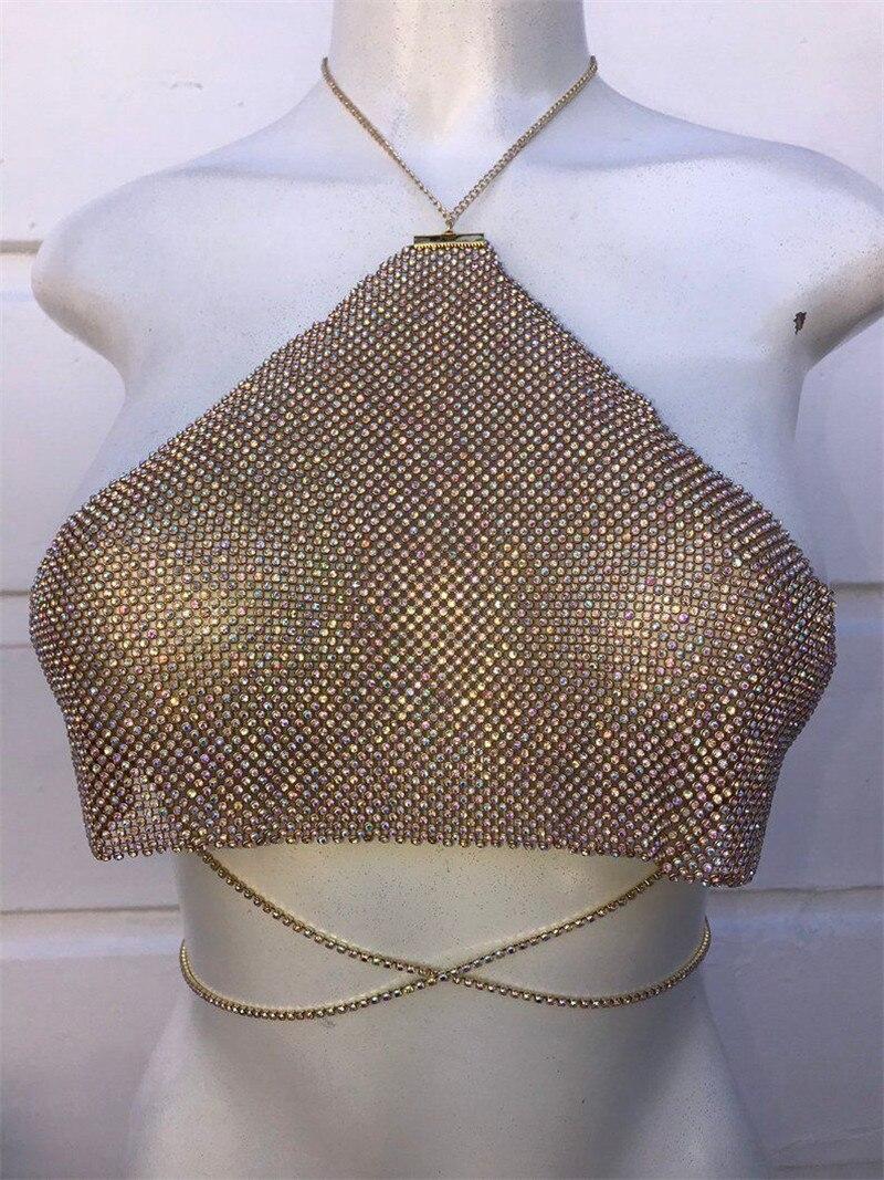 Sexy dos nu or rouge Bling diamants strass plaqué métal hauts licou Camis évider femmes bustiers accessoires été - 3