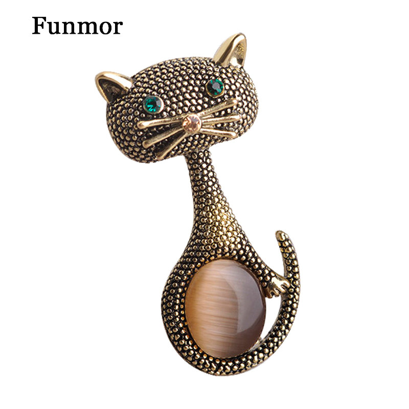 Vintage Opal Cat Eye Brooch Pins For Women Gold Color Cute