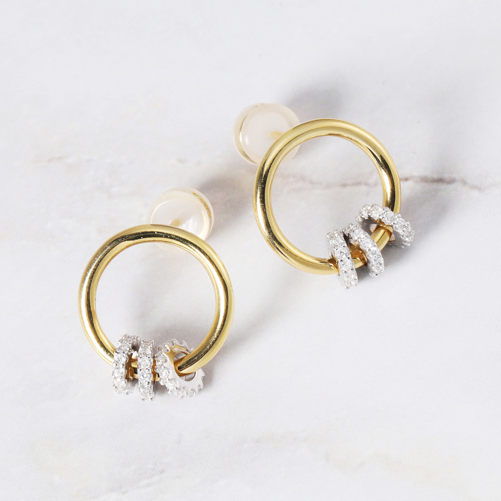 New fashion 925 Sliver jewelry Hoop Earring Gold Color Irregular Geometric Three Circles Earring For Women Girl Party Birthday