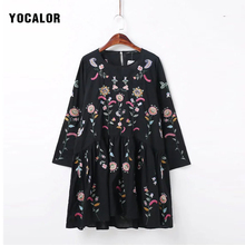 2017 Spring Embroidery Floral Lace Skater Flounce Loose Frill Dress Robe Casual Chiffon Women Party Short Summer Dresses Boho