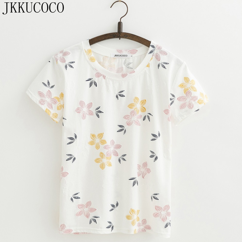 JKKUCOCO Hot Women Tops tee Nice Flowers shirt good quality Cotton T shirt Women t shirt