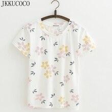 JKKUCOCO Hot Women Tops tee Nice Flowers shirt good quality Cotton T-shirt Women t shirt Short Sleeve Casual t-shirts XS-XL