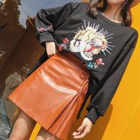 2017 Autumn New High Waist Thin Solid Color Skirt Female Fashion Side Strings Belt PU Leather