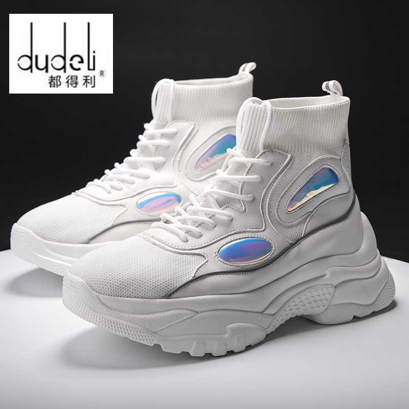 4dd427d83044f DUDELI Nowa Platforma Mężczyźni Sneakers Grube Podeszwy Buty Do Biegania  Wysokość Zwiększenie 6 cm Chunky Kobiety