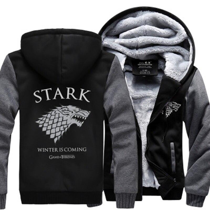 US $23.5 50% OFF TV Show Game Of Thrones House Stark Men Sweatshirt Winter Is Coming Hoodies 2019 Winter Warm Fleece Thicken Jacket Zipper Coat in