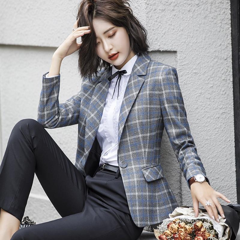 Fanmuer 2018 Frauen Plaid Kerb Kragen Tweed Blazer Zweireiher Taschen Quaste Saum Weibliche Lose Beiläufige Outwear Chic Tops Frauen Kleidung & Zubehör