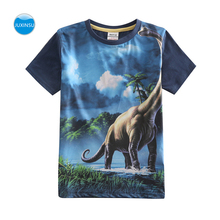 JUXINSU Kids Fashion Summer Cotton Boys Short Sleeve T-shirt 3D Printed Dinosaur Cartoon Smooth and breathable for 1-8 Years