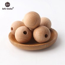 Laten we 100PC Houten Bijtring Chewable 8-20mm Ronde Kralen Ecofriendly Onvoltooide Beuken Kralen DIY Craft houten Baby Bijtring(China)