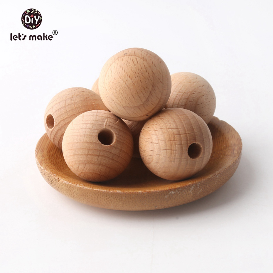 Let's Make 100PC Wooden Teether Chewable 8-20mm Round Beads Ecofriendly Unfinished Beech Beads DIY Craft Wooden Baby Teether