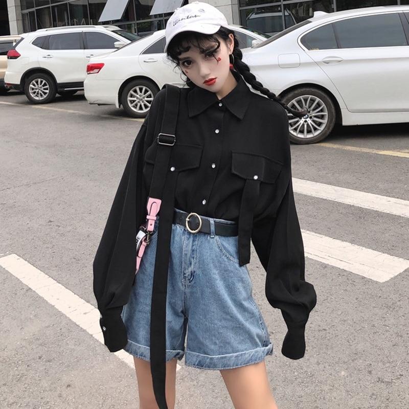 Harajuku Women Shirts Vintage Gothic Japanese Punk Style Street Long Sleeve Tops Korean Black Hip Hop Darkness Female Blouse At Any Cost Women's Clothing