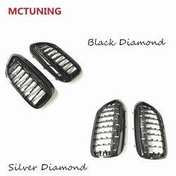 2 sztuk błyszczące czarne z przodu Racing grille dla G30 G38 2017 2019 srebrny diament Car styling grille w Kratki wyścigowe od Samochody i motocykle na