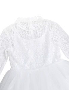 Image 4 - Cute White Lace Flower Girl Dress With Long Sleeves for Weddings Children Prom Gown Girls Princess First Communion Party Dresses