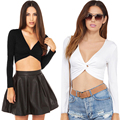 New Woman Sexy Slim Short Midriff Deep V Neck Tops Black White Long T-Sleeve Shirts Casual Shirts S-2XL
